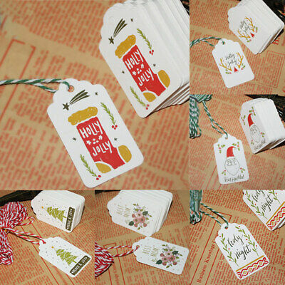 NEW 100PCS Kraft Paper Gift Tags DIY Small Card Merry Christmas With String Cute ()