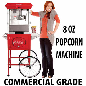 COMMERCIAL GRADE 8oz POPCORN MACHINE W/CART 5 FEET BLACK or RED