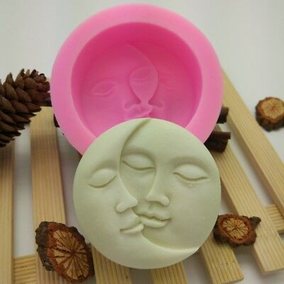 Handmade Sun&Moon Faces Silicone Soap Molds Craft Molds Soap Mould Pink New DJ8