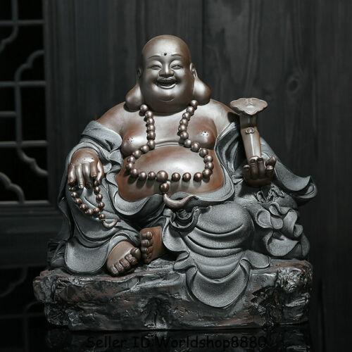 """12.4"""" Chinese Ceramics Porcelain Happy Laugh Maitreya Buddha Ruyi Wealth Statue"""