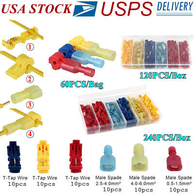 60120240pcs Insulated T-taps Quick Splice Wire Terminal Connectors Combo Kit