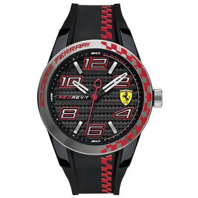 Scuderia Ferrari RedRev T Mens Watch 0830336, Silicone Red and Black