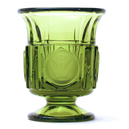 FOSTORIA Olive Green Coin Glass Footed CIGARETTE URN