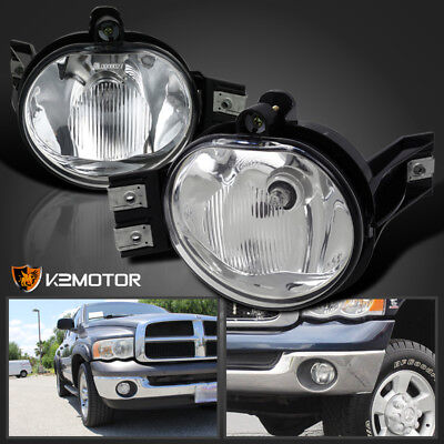 02-08 Dodge Ram 1500 2500 3500 Pickup Clear Bumper Driving Fog Lights Kit