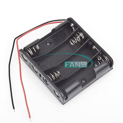 2pcs New Plastic Battery Case Storage Box Holder With Wire Leads 6.0v 4aa