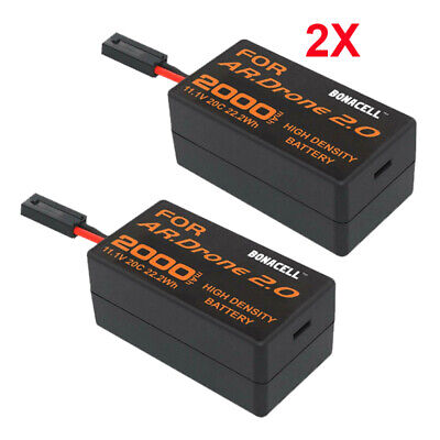 2X 2000mAh 11.1V Rechargeable Replacement Battery for Parrot AR 2.0 Drone 2AH