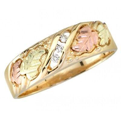 Men's Black Hills Gold and Diamond Wedding Ring Size 9 - 14 Black Hills Diamond Mens Bands