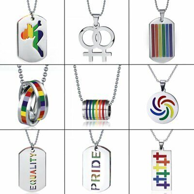 Stainless Steel Rainbow Lesbian Gay LGBT Pride Pendant Necklace Friendship Gift (Pride Rainbow)