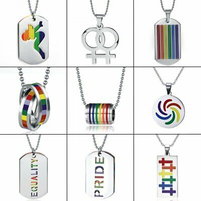 Stainless Steel Rainbow Lesbian Gay LGBT Pride Pendant Necklace Friendship - Gay Pride Necklaces