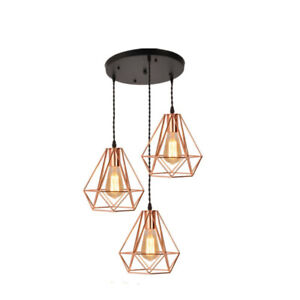 EFINEHOME Vintage Industrial Rose Gold Metal Pyramid Cage light