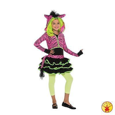 RUB 2886635 Neon Pink Zebra Kleid + Jacke - Neon Zebra Kostüm