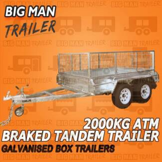 8X5 Hot Dipped Tandem Box Trailers With Cage 2000KG