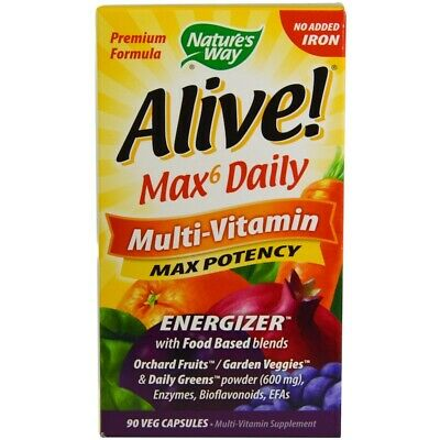 90 Kapseln Natures Way (Alive, Max 6 Täglich, Multi Vitamine, 90 Veg Kapseln - Natures Way)