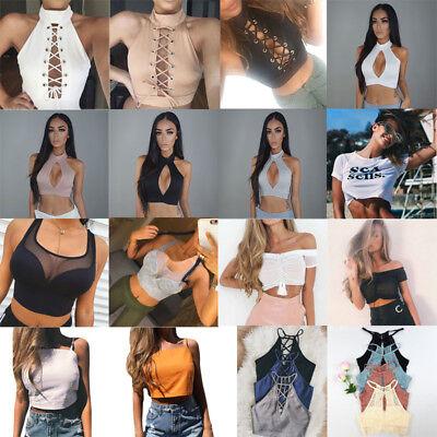 (US Fashion Summer Women Casual Tank Tops Vest Blouse Sleeveless Crop Tops Shirt)