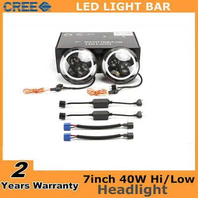2X 7inch 40W Round CREE LED Halo Angel Eyes Headlight For Jeep Wrangler JK TJ