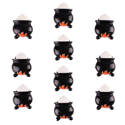 10pcs Halloween Witch Brew Pot Fire Party Resin Flatback Hair Bow Crafts - Halloween Hair Bow Embellishments