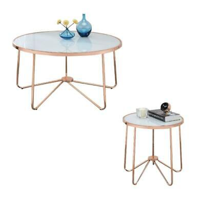 Alivia 2 Piece Coffee Table and End Table Set in Frosted Glass and Rose Gold