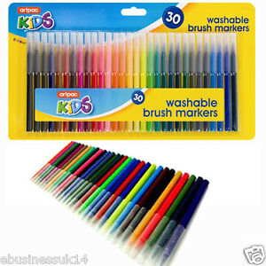 LARGE 30 PACK Washable BRUSH MARKER PENS Childrens/Colouring/Felt Tipped/Tip UK