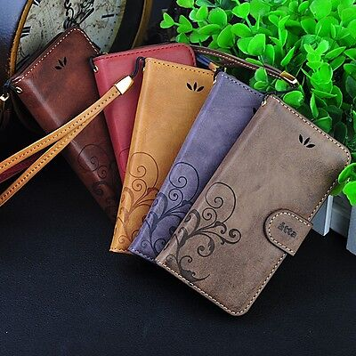 Retro Leather Skin Wallet Cover Case For Apple iPhone 5 / 6 / 7 / 8 / Plus Phone - Leather Skin Cover