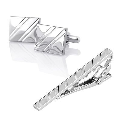 Square Ribbed Men Silver Stainless Necktie Tie Clip Cufflinks Simple Gift Set