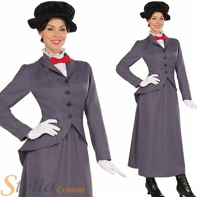 Ladies Victorian Nanny Mary Poppins Adult Fancy Dress Costume Womens Outfit