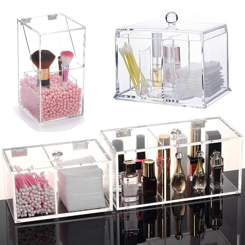 Acrylic Makeup Organizer Case Cosmetic Brush Jewelry Storage Holder Box Clear