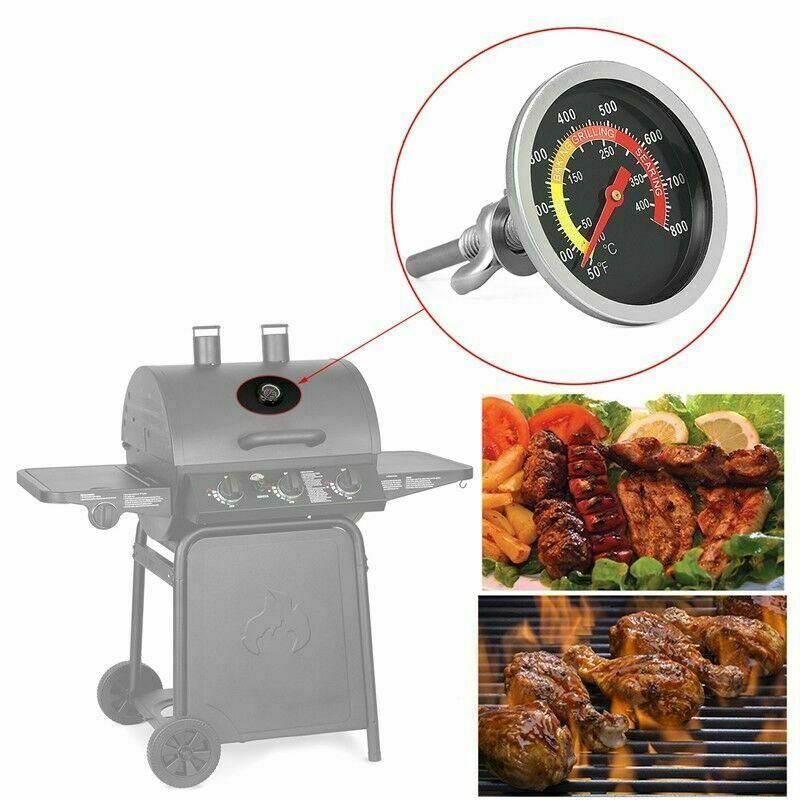 Grill Thermometer 0-250°C Smoker Edelstahl Bimetall Räucherofen Gasgrill BBQ