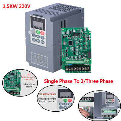 2hp 1.5kw 220v 1ph Input To 3ph 7a Vector Vfd Universal Frequency Converter