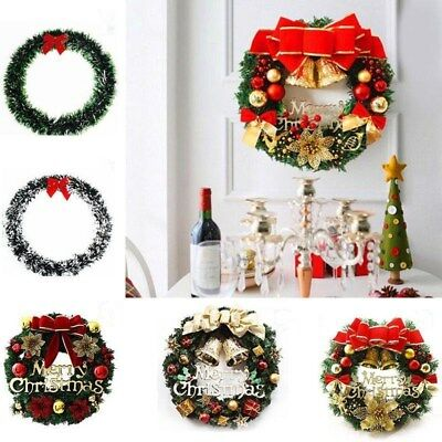 Christmas Pine Snow Garland Wreath Xmas Hanging Decor Ornament With Red Bow ()