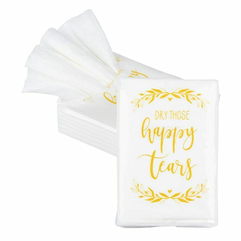 """60-Count Wedding Party Facial Tissue Packs, Dry Those Happy Tears, 2.9"""" x 2"""""""