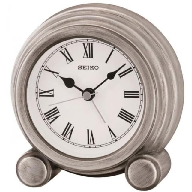 Seiko QXE052S Durable Best Quality Antique Finish Mantel Alarm Clock - Silver