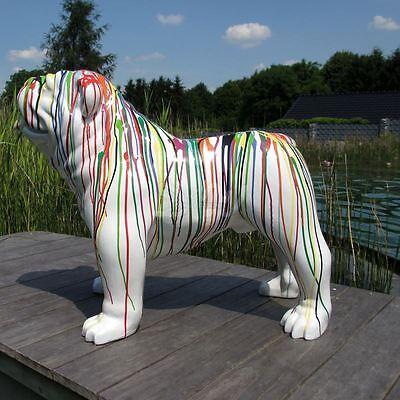 englische BULLDOGGE 93 cm KUNSTBEMALUNG weiß STREIFEN Deko Tier Figur HUND