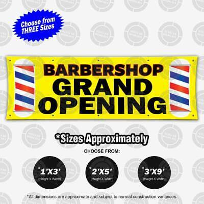 Barbershop Grand Opening Banner Display Barber Pole Sign Poster Bright Print