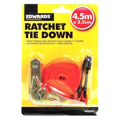 RATCHET TIE DOWN - HOLDING SECURING STRAP -  ROOF RACK-  CAR TRAILER