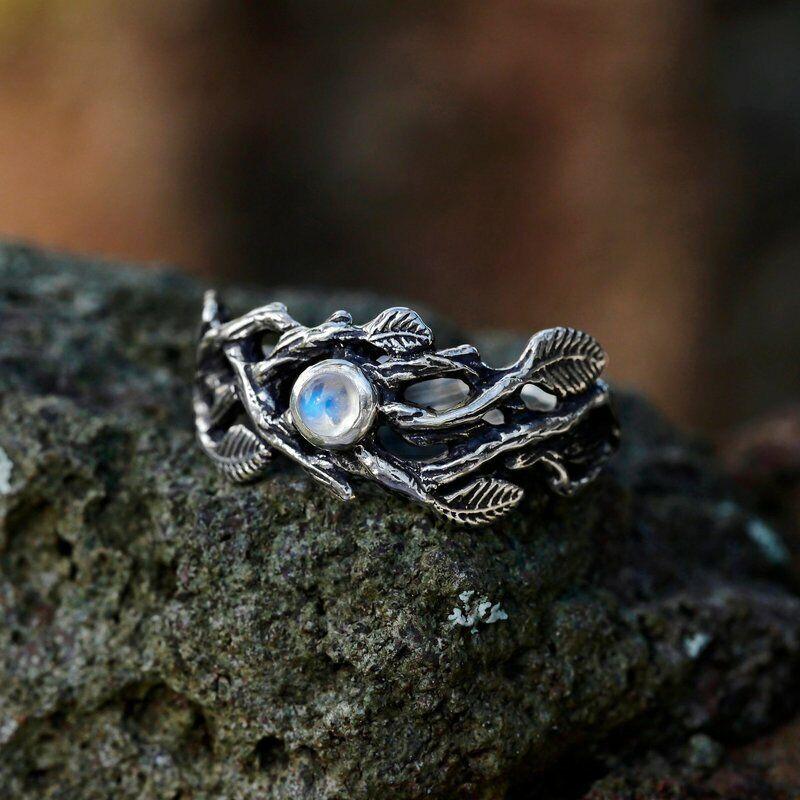 Fashion Vintage Twig Moonstone Women's Ring Mystery Vine Lea