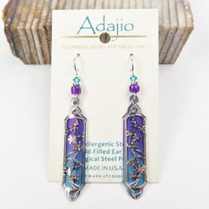 Adajio Earrings Purple And Teal Long Column With Shiny Silver Fl Overlay