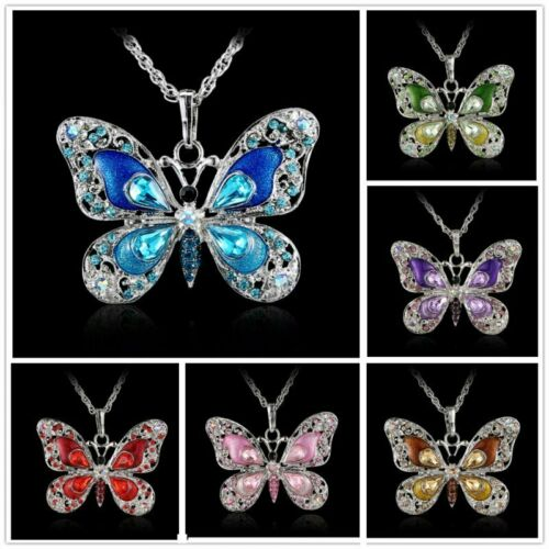 Animal Butterfly Crystal Pendant Necklace Long Sweater Chain