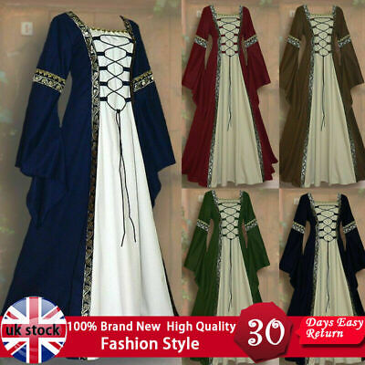 UK Women Vintage Dress Medieval Renaissance Gothic Cosplay Costume Loose Dresses