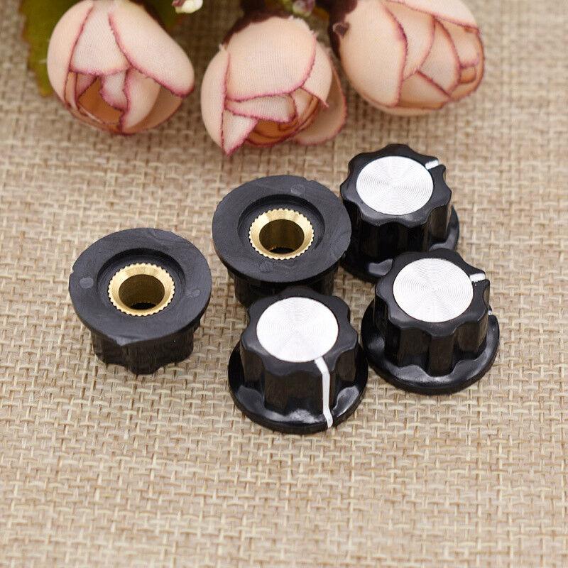 5 Pcs 6mm Shaft Hole Potentiometer Knob Knobs Caps Rotary Control Turning New
