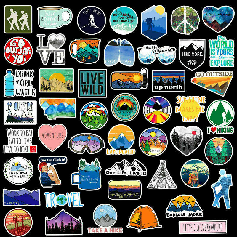 50 Outdoors Hiking Camping Nature Stickers Pack Laptop Car Bumper Bike Decal Lot