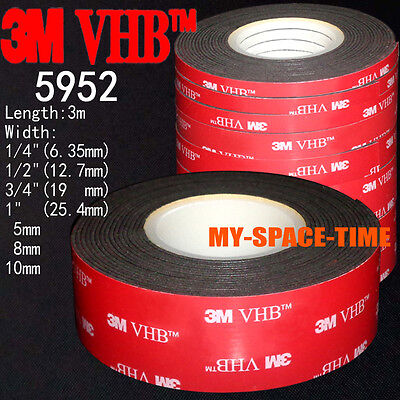 3M VHB #5952 Double-sided Acrylic Foam Adhesive Tape Automotive 3 Meters Long  3 Meter Vhb Double Sided Tape