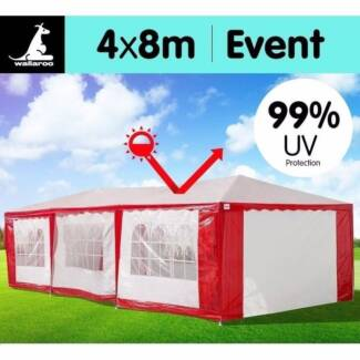 Portable Gazebo Marquee in Red and White 4m x 8m new