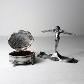 Art Nouveau Angel Jewellery Holder and Silver Plated Trinket Box