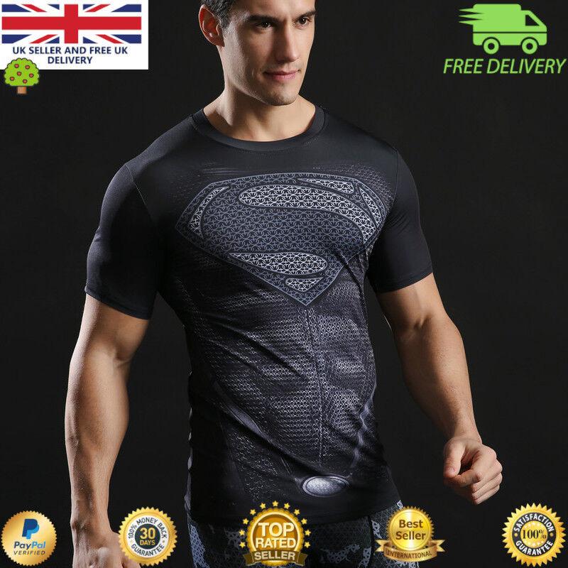 Mens t-shirt compression gym superhero avengers marvel muscle Batman