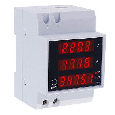 80-300v 100a Digital Led Din Rail Voltage Amp Watt Power Meter Ammeter Voltmeter
