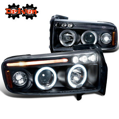 94-01 Dodge Ram 1PC Black Housing Headlights w/Dual Halo LED  Projector Sport