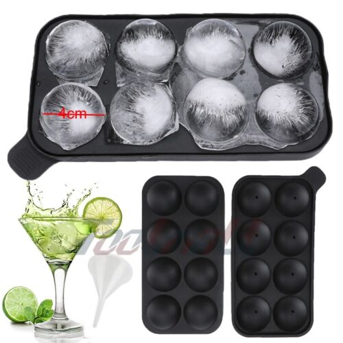 Black Round Silicon Ice Cube Ball Maker Tray 8 Large Sphere