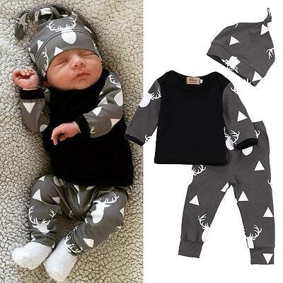 Neugeborene Baby Mädchen Jungen T-shirt Hose Hut Outfit Set Schlafanzug Kleidung