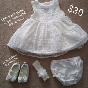 White lace special occasion dress, size 6-9 months
