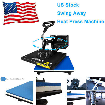 Digital Heat Press Machine Swing Away 9x12printing Diy T-shirts Bags Mats Us